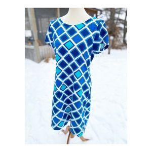 Hatley Blue Argyle Print Shirt Dress Cotton Casual